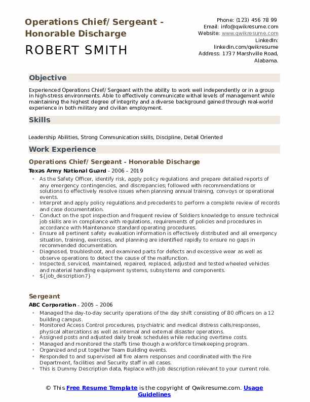 Operations Chief/ Sergeant - Honorable Discharge Resume Sample