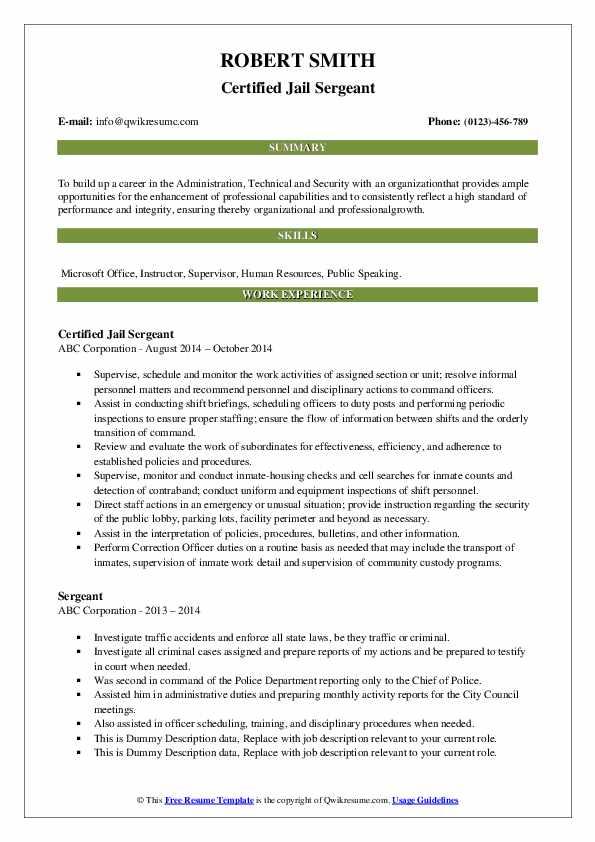Certified Jail Sergeant Resume Template