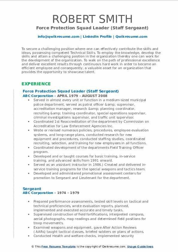 Force Protection Squad Leader (Staff Sergeant) Resume Format