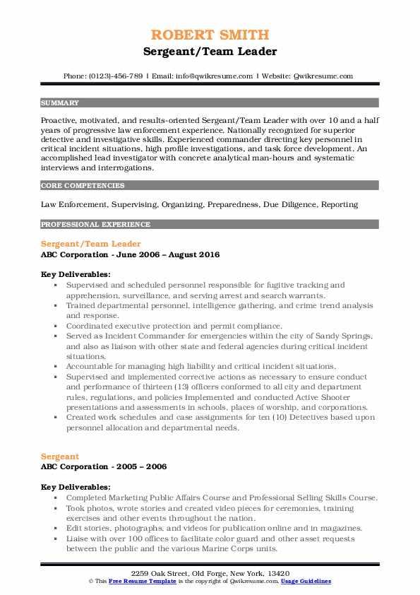 Sergeant/Team Leader Resume Sample
