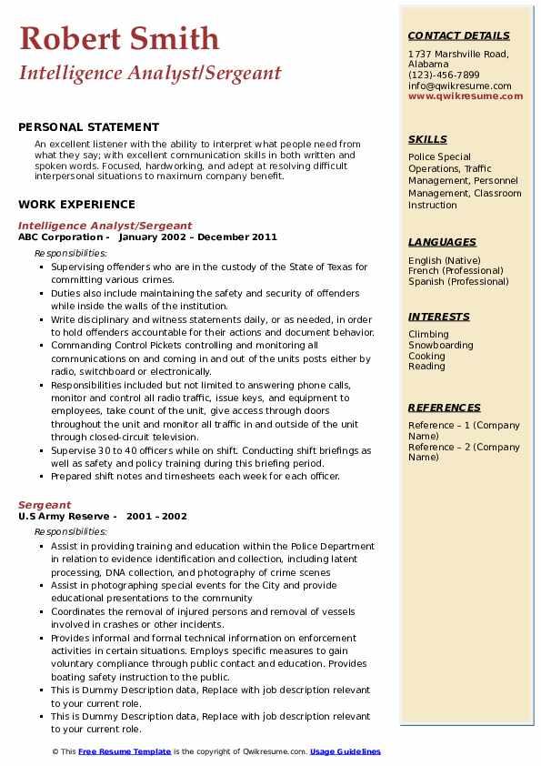 Intelligence Analyst/Sergeant Resume Example