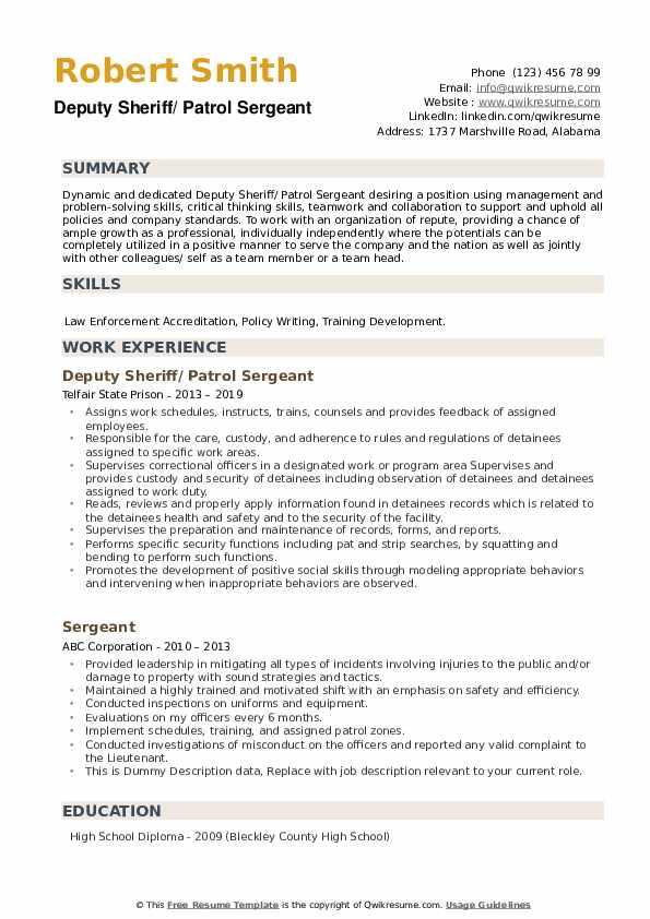 Sergeant Resume example