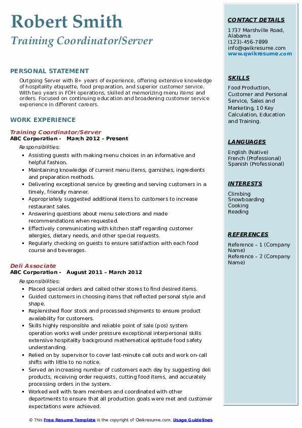 Training Coordinator/Server Resume Model