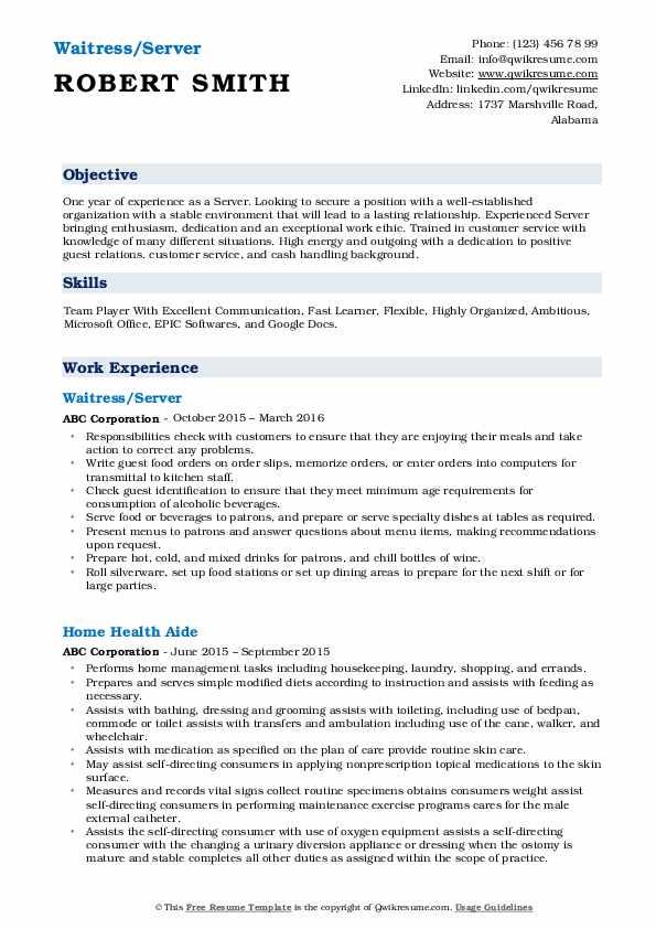 Waitress/Server Resume Format