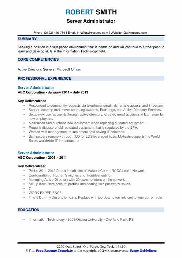 Server Administrator Resume example