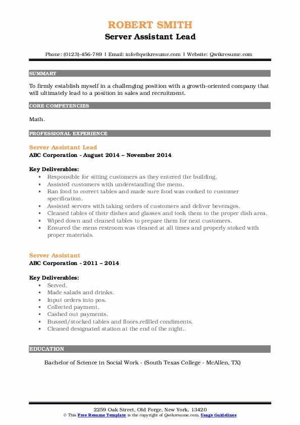 Server Assistant Lead Resume Format