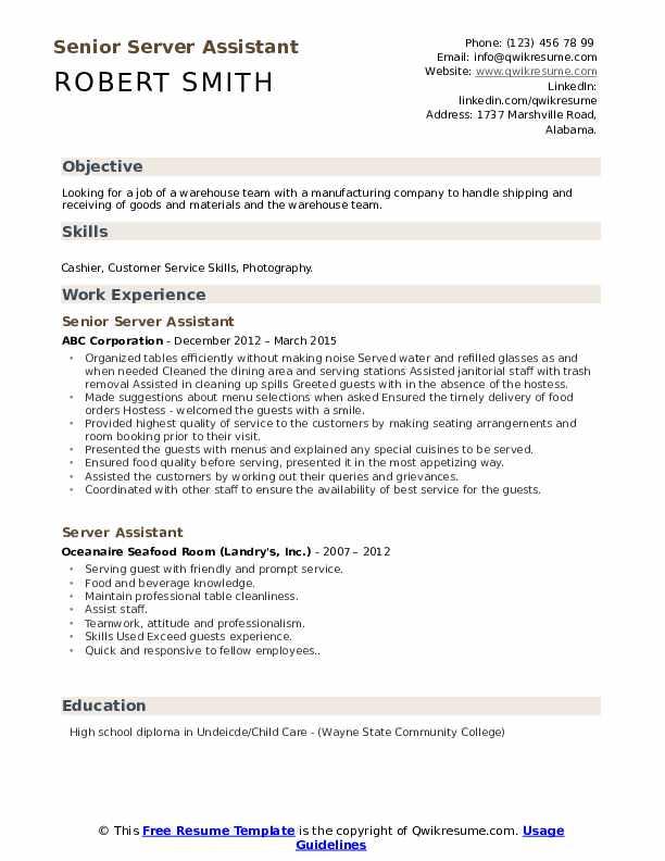 Senior Server Assistant Resume Template