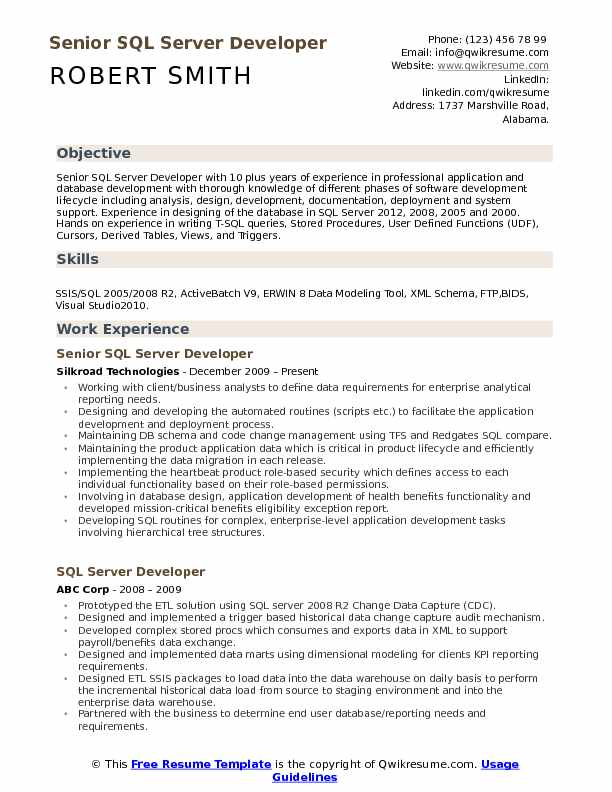 Senior SQL Server Developer Resume Format