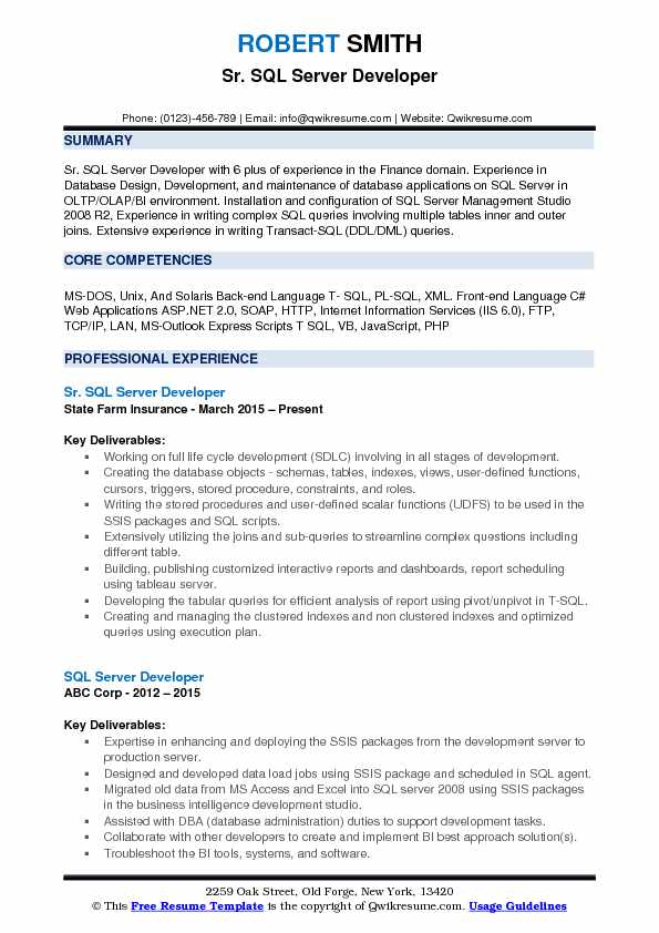 Sr. SQL Server Developer Resume Model
