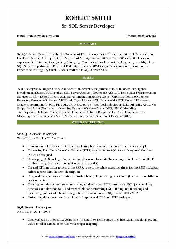 Sr. SQL Server Developer Resume Template