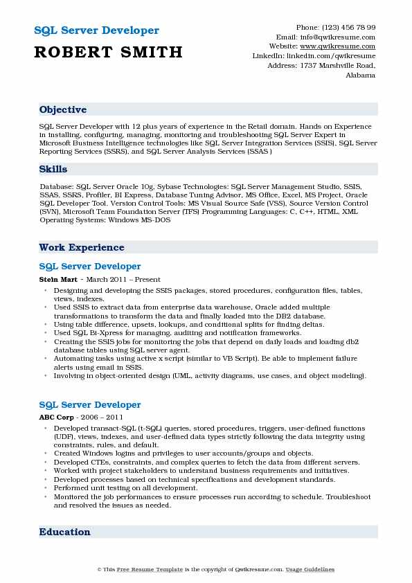 SQL Server Developer Resume Model