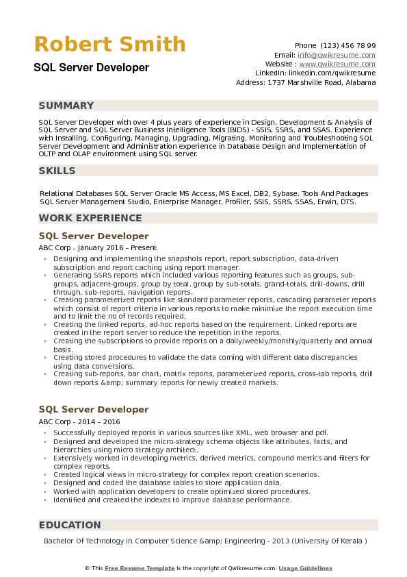SQL Server Developer Resume example