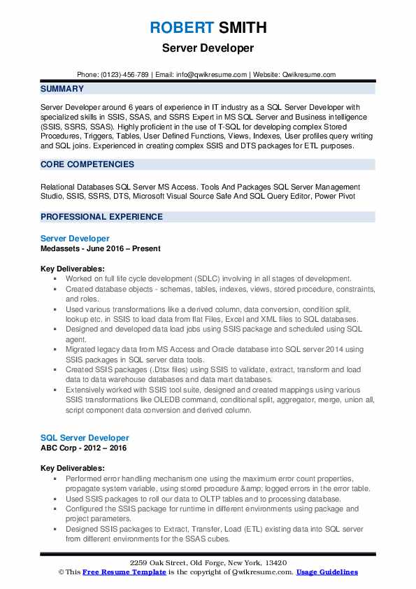 Server Developer Resume Template
