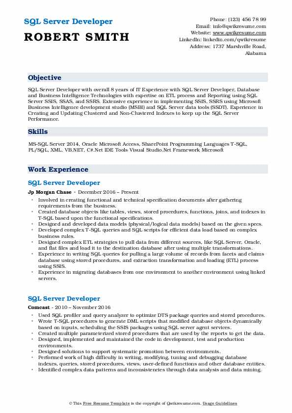 SQL Server Developer Resume Format