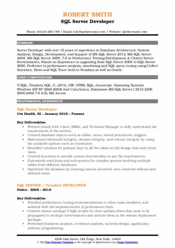 SQL Server Developer Resume Template