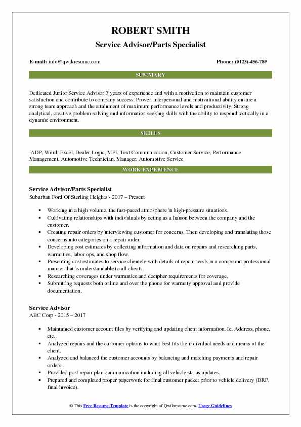 Service Advisor/Parts Specialist Resume Model