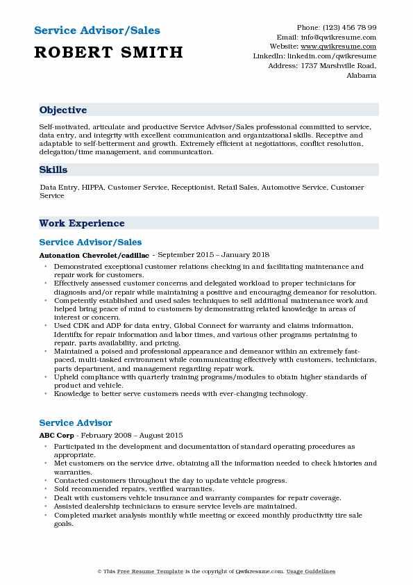 Service Advisor/Sales Resume Sample