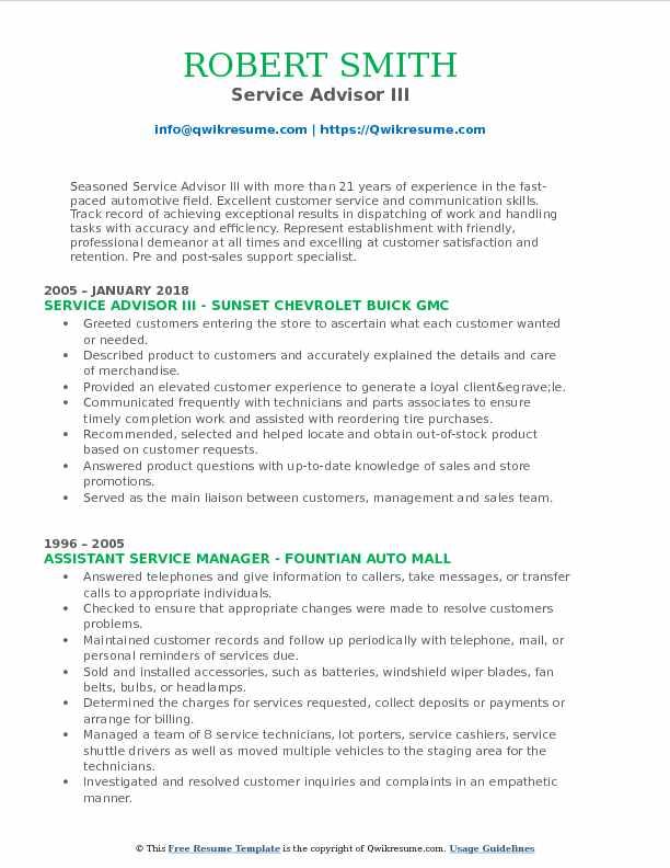 Service Advisor III Resume Format
