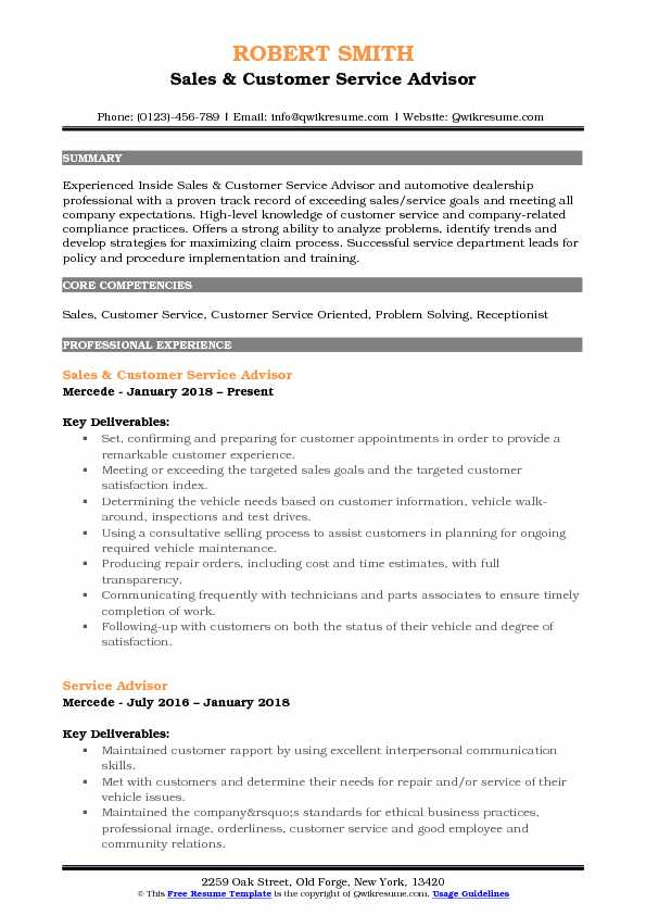 Sales & Customer Service Advisor Resume Template