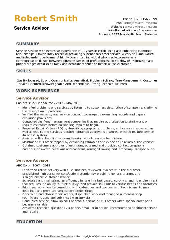 Service Advisor Resume example