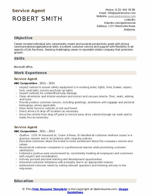 Service Agent Resume Model