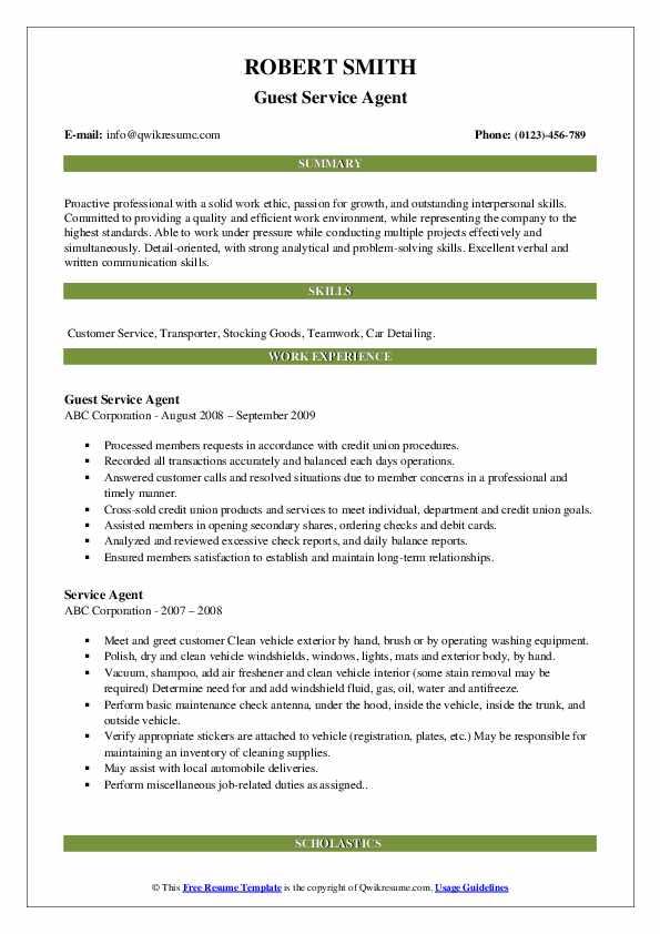 Guest Service Agent Resume Model