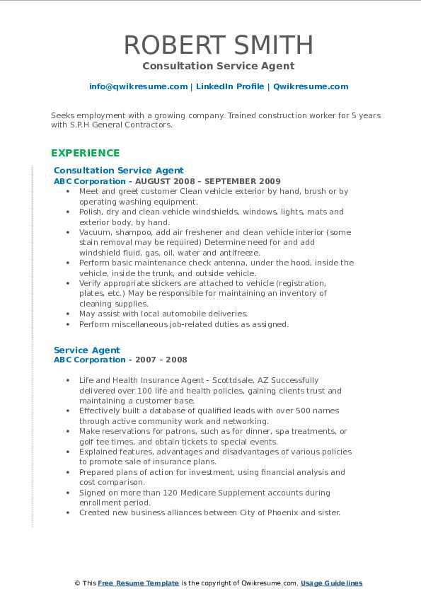 Consultation Service Agent Resume Sample