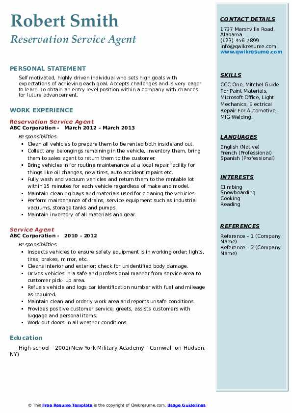 Reservation Service Agent Resume Example