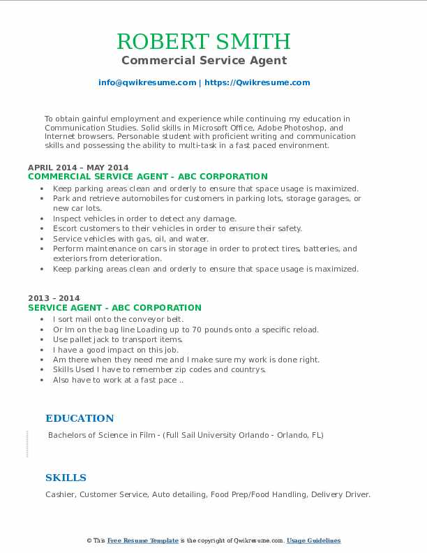Commercial Service Agent Resume Sample