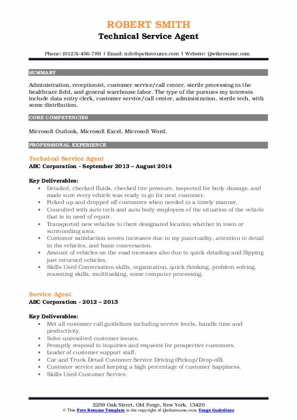 Technical Service Agent Resume Sample