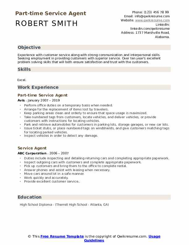 Part-time Service Agent Resume Format