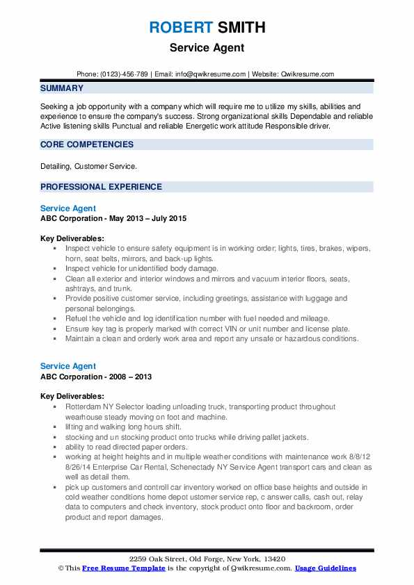 Service Agent Resume example
