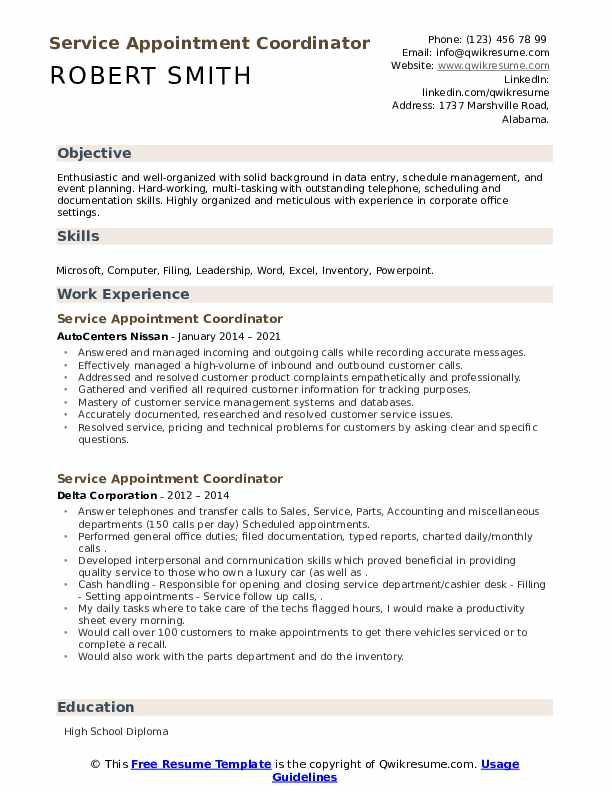 service appointment coordinator resume samples  qwikresume