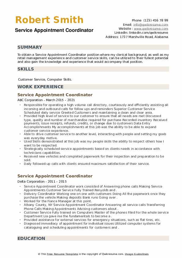 Service Appointment Coordinator Resume example