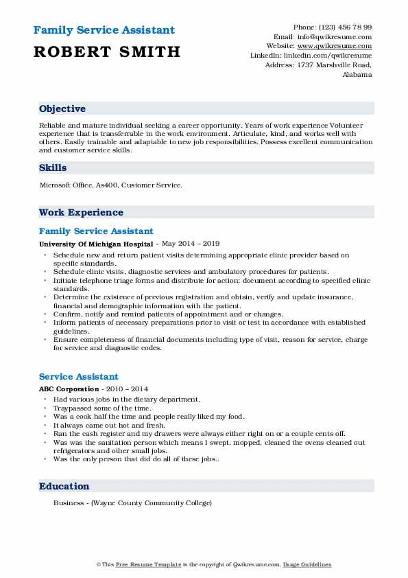 Family Service Assistant Resume Example