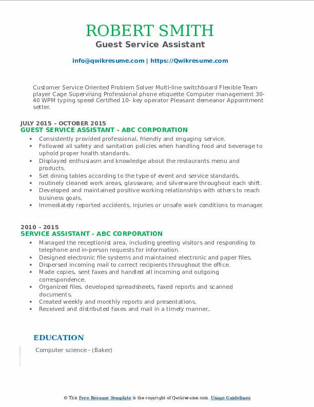 Guest Service Assistant Resume Format