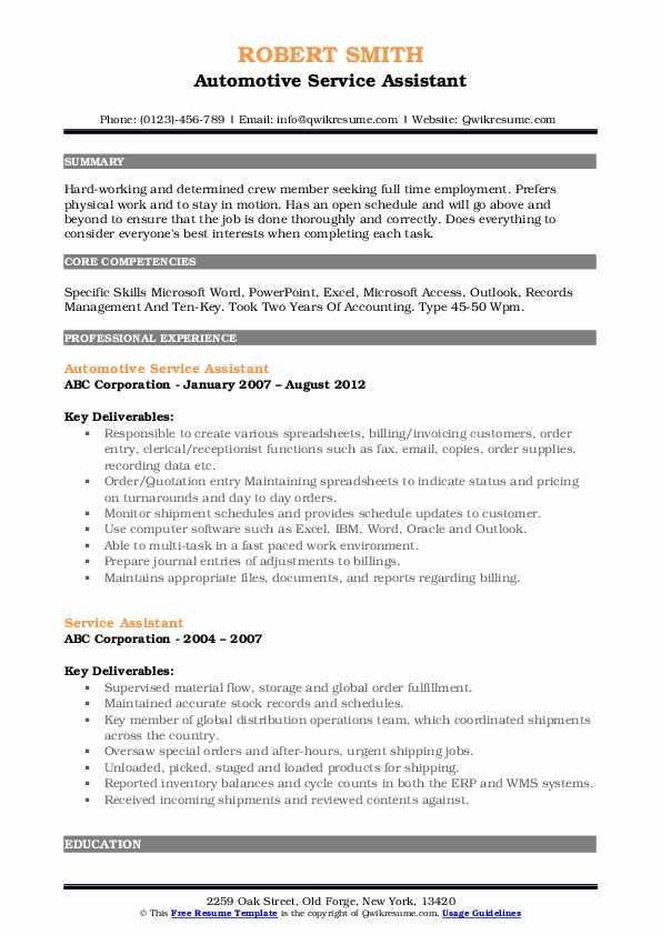 Automotive Service Assistant Resume Model