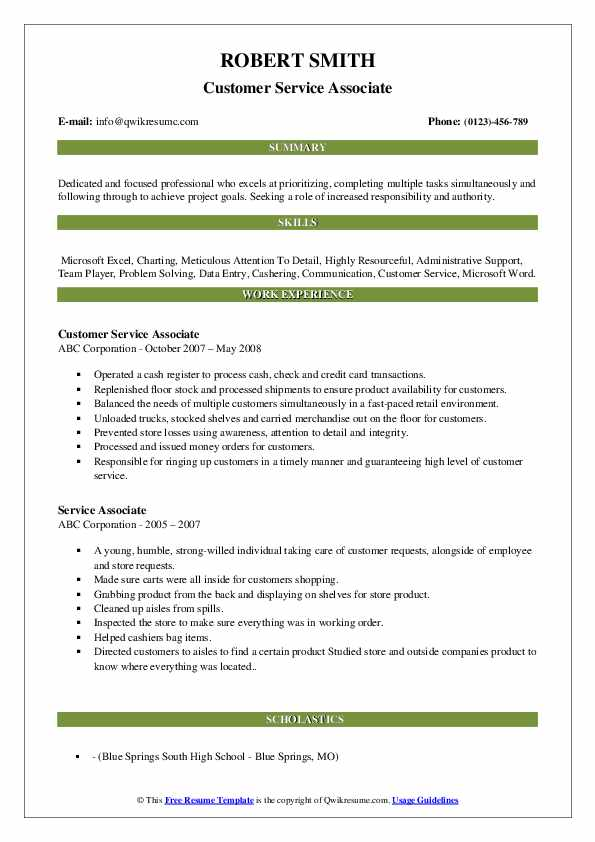 Customer Service Associate Resume Format