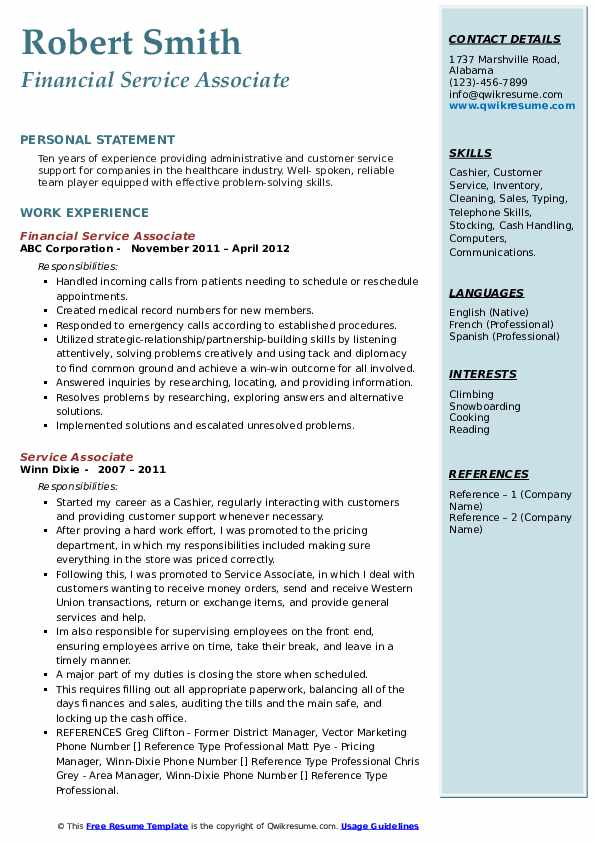 Financial Service Associate Resume Model