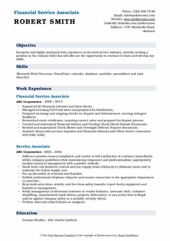 Financial Service Associate Resume Format