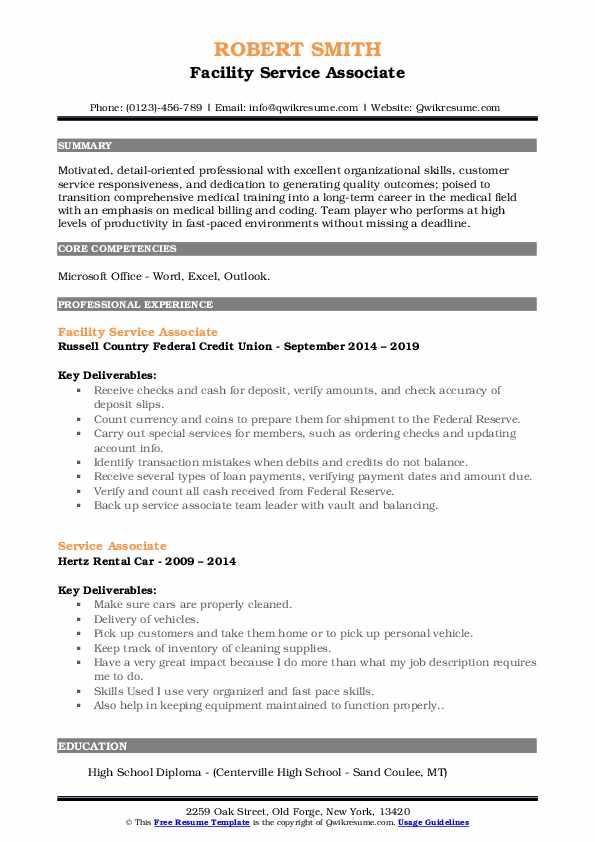 Facility Service Associate Resume Sample