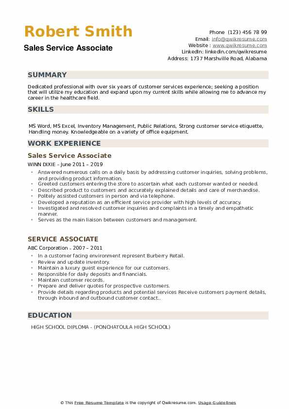 Sales Service Associate Resume Sample
