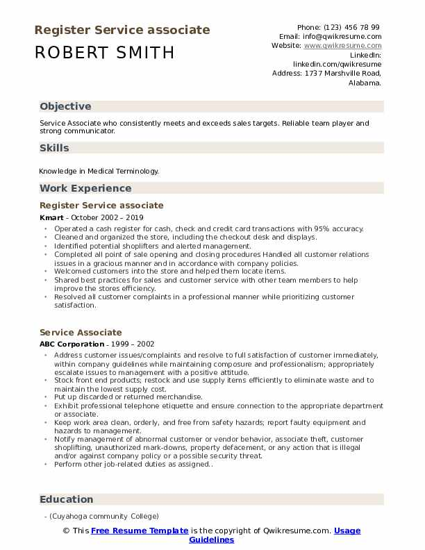 Register Service associate Resume Template