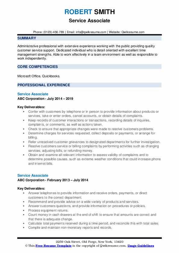 Service Associate Resume example