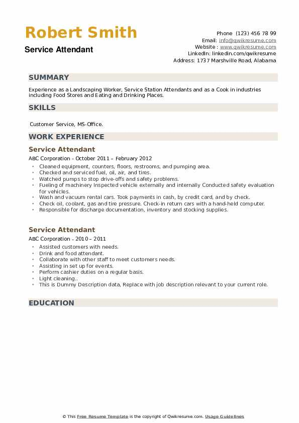 Service Attendant Resume example