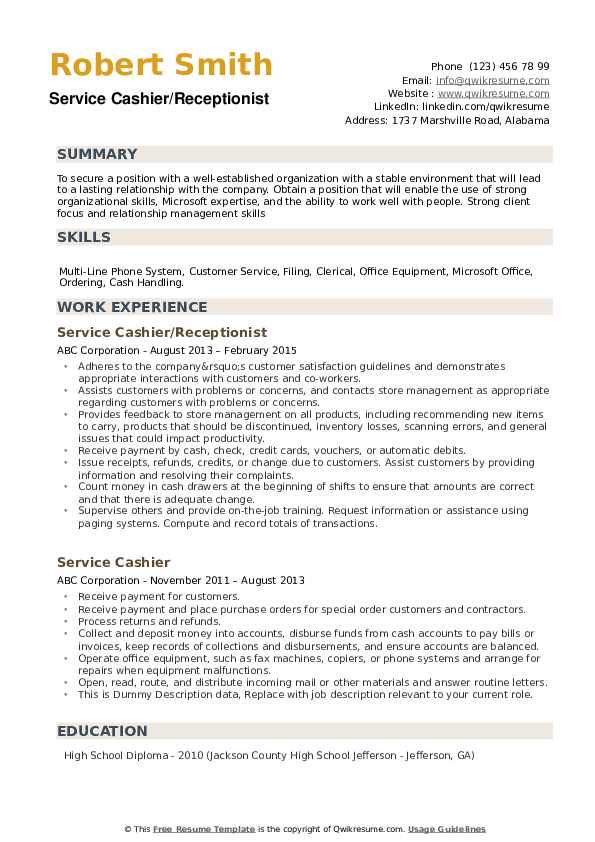 Service Cashier Resume example