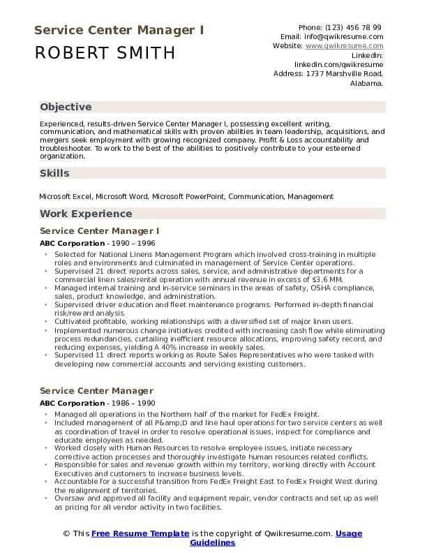 Service Center Manager I Resume Template