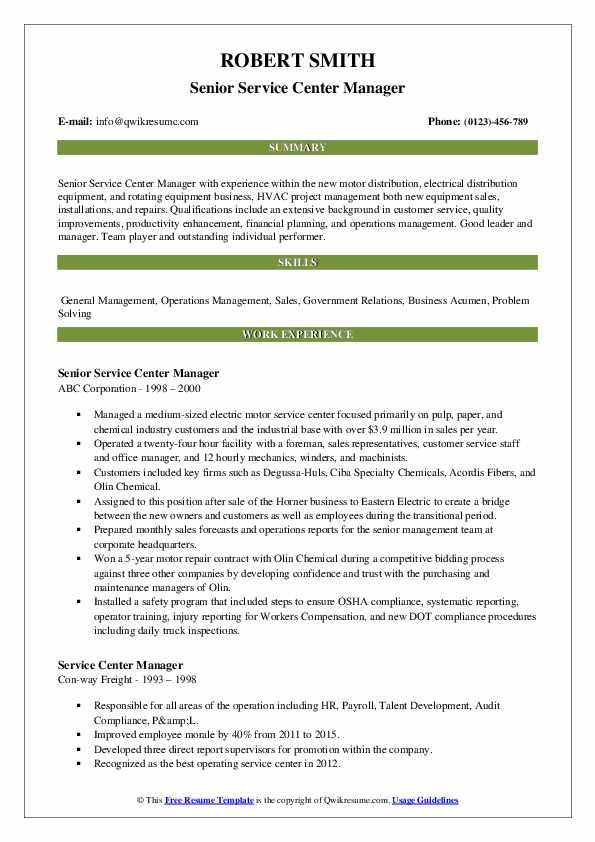 Senior Service Center Manager Resume Model