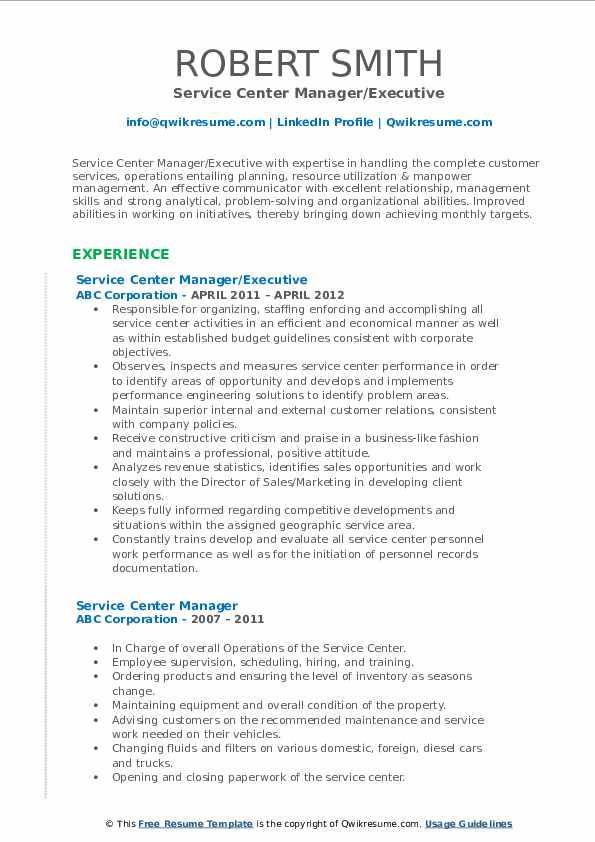 Service Center Manager/Executive Resume Sample