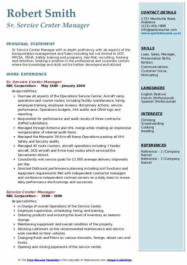 Sr. Service Center Manager Resume Format